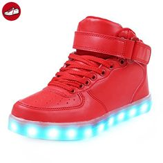 [Present:kleines Handtuch]High Top mit Velcro Rot EU 42, Herren Unisex-Erwachsene Sneaker Sport Farbe High Sportschuhe Aufladen weise Leuchtend 43 Damen Top USB Turnschuhe JUNGLEST® LE