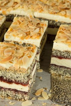 Polish Poppy Cake with Cottage Cheese (Ciasto Makowe z Serkiem Homo). Polish Desserts, Polish Recipes, Cookie Desserts, Poppy Cake, European Dishes, Cake Recipes, Dessert Recipes, Roasted Almonds, Cake With Cream Cheese