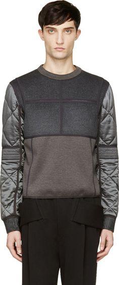Calvin Klein Collection: Grey Quilted Cupro & Wool Gotham Sweatshirt