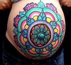 Henna Mandala Inspired Belly Paint