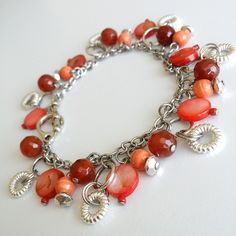 Rie Designs | Carnelian and Shells Charm Bracelet