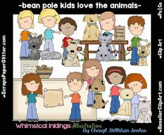 Bean Pole Kids Love The Animals Clip Art - Commercial Use, Digital Image, Clipart - Instant Download - First Pet, Puppy, Kitty, Dog, Cat by ResellerClipArt on Etsy