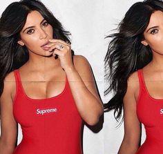 kim kardashian, supreme, and red image