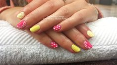 CND Shellac in Sunbleached yellow and Hot Pop Pink with Polka dots and flowers.  #cndshellac #nailart #salcombe