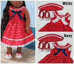 18 Inch Doll Clothes Red Sailor Dress Cap & by RainbowLilyDesigns