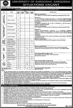 Last Date :20th February, 2017 Location : Sargodha Organization : University of Sargodha Education Required : Ph.D, MSc, BSc, DAE, Matric Today you will be having latest job opportunity from Teaching & Non Teaching Jobs Jan 2017 University of Sargodha here at this page. University of Sargodha intends to hire the self motivated, talented, very experience, competitive and qualified professionals candidates are required to apply for the following positions such as (Professor (Civil Engineer...