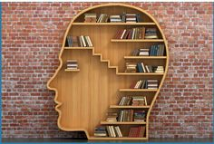 Wooden book shelf in shape of a head, clever! +++ designer unknown