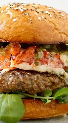 Surf and Turf Burger with Chive Buerre Blanc