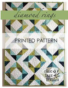 modern quilt pattern // PRINT // diamond by olivetreetextiles, $11.00