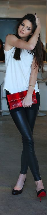 Louboutins, leather pants, white top and red clutch. Simple, yet striking