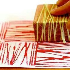 Printmaking...string, blocks of wood, tape, cardboard pieces, Q-tips...could be great DIY wrapping paper.