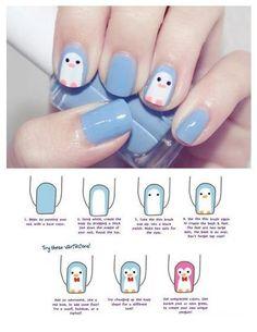Penguin nail art, easy & cute. Use whatever nail polish you like & decorate those nails!