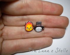 Earrings Totoro and Catbus Studio Ghibli cute por TraLunaeStelle