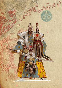 Samurai Inspired Art by Adrian Smith @risingsunboardgame  ● More Samurai Art @ http://yellowmenace8.blogspot.com/2015/05/art-samurai-inspired.html  #Yellowmenace #Samurai