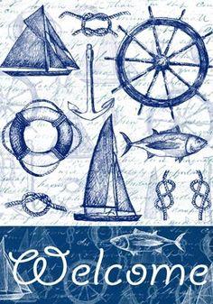 COASTAL WELCOME Nautical Prints, Nautical Theme, Style Marin, Decoupage Vintage, Decoupage Paper, Sea Art, Coastal Art, Nautique, Beach Themes