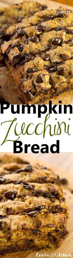Chocolate Chip Pumpkin Zucchini Bread - SO incredible. Sub AP and whole wheat flour, reg egg, and brown sugar. Make into muffins.