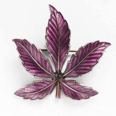Sterling Silver and Maroon Enamel Maple Leaf Brooch by Bernard Meldahl Norway – Treasure Bird