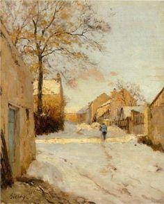A Village Street in Winter - Alfred Sisley