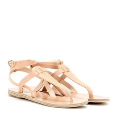 Every wardrobe needs a pair of nude flat sandals, and this pair from Ancient Greek Sandals has timeless appeal. The strappy silhouette will work with dresses and denim alike. Flat Sandals, Gladiator Sandals, Leather Sandals, Nude Flats, Designer Sandals, Ancient Greek Sandals, Pairs, Stuff To Buy, Accessories