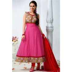 """Fabric : Cotton WORK : Lace Work Product Size : Max. up to 40"""" Product Type : Unstitched Anarkali Suit Pattern : Anarkali Suit"""