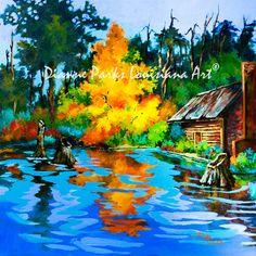 Louisiana Art, Swamp, Bayou, Cabin, Autumn, Fire, New Orleans Art, Louisiana Art by New Orleans Artist