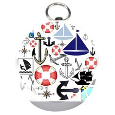 Nautical Collage Silver Compass
