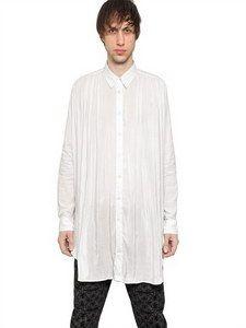 Ann Demeulemeester - Nylon Satin Cotton Long Shirt | FashionJug.com