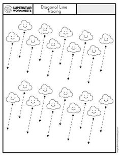 Free Printable Handwriting Worksheets, Handwriting Worksheets For Kindergarten, Line Tracing Worksheets, Tracing Lines, Writing Practice Worksheets, Tracing Sheets, Handwriting Activities, Kindergarten Learning, Phonics Worksheets