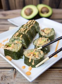 Quinoa and Avocado Sushi Rolls (with sun dried tomatoes and bacon) !!!!!!!!!!!!!!!!!!!!