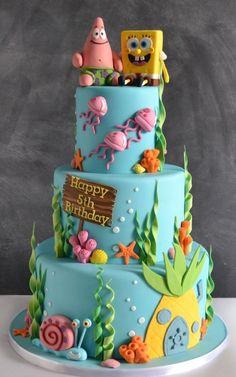Spongebob Birthday Party, Birthday Cake Girls, Spongebob Party Ideas, Birthday Cupcakes, 5th Birthday, Cartoon Birthday Cake, Happy Birthday, Crazy Cakes, Cake Shop