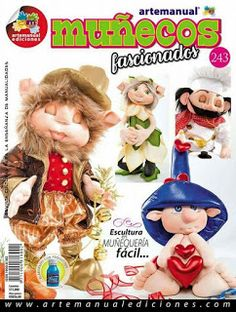REVISTA ARTE MANUAL MUÑECOS FASCIONADOS Doll Patterns, Sewing Patterns, Sewing Dolls, Pretty Dolls, Soft Dolls, Soft Sculpture, Doll Face, Clay Crafts, Creations