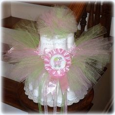 Whimsical Fairy Princess Tulle Diaper Cake Baby Shower Centerpiece Table Decorations Lime Green and Pink Girl Wings Butterfly Tinkerbell Disney Princess First Birthday