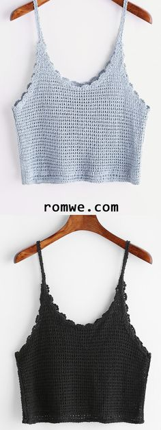"diy_crafts- Scalloped Hem Knitted Cami Top (Top Moda Tejidos) ""This post was discovered by Suz"", ""We Curate Men's Fashion & Women's Fashion Da Crochet Bra, Mode Crochet, Crochet Bikini Top, Crochet Woman, Crochet Blouse, Freeform Crochet, Crochet Flower, Crochet Dress Outfits, Crochet Clothes"