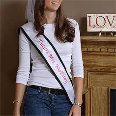 I've been looking for a nice one of these everywhere! It's a Bachelorette Bash© Printed Satin Sash that you can have personalized with whatever you want for the bride to wear on her last night out with the girls! LOVE that it's actually satin and they print on it so she can keep it for her scrapbook! #Bachelorette #Bridesmaid #Bride #Wedding #Sash