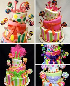 Candy themed party cakes