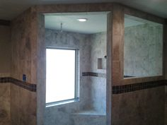 Tile Shower with Decos and Shampoo Shelf Cubby Hole Cubby Hole, Cubbies, Showers, Shower Ideas, Shampoo, Tile, Shelf, Mirror, Bathroom
