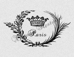 Paris Wreath Crown Instant Download for Iron On by VintageRestyled