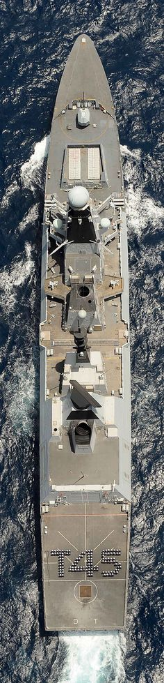 Photex of HMS Dauntless with the ships company in a T45 formation on the flight deck.