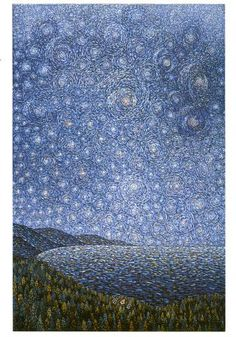 Father Arthur Poulin, Camaldolese monk, priest, and artist. Christmas Night at the Hermitage Advent Images, Christmas Night, Christmas Ideas, Sunflowers And Daisies, Pointillism, Landscape Paintings, Landscapes, Big Sur, Priest