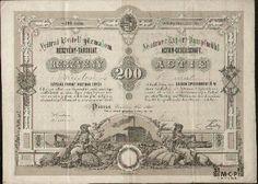 Muzeum cennych papiru A1552 Nyitrai kiveteli gözmalom Részvény-Társulat / Neutraer Export Dammpfmühl Actien-Gesellschaft  ( Nitranský exportný parný mlýn účastinná spoločnosť ) 1868