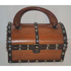 Vintage Brown Wooden Treasure Chest Purse