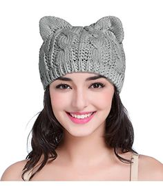 c4417974af6 Hand Made Fashion Women Boy Girl Crochet Knit Winter Cat Deer Ear Caps Hats  Medium Kitten Blue    Check this awesome product by going to the link at  the ...