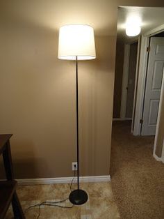 Transform a torchiere lamp to a drum shade floor lamp pinterest cobblestones ivy floor lamp makeover aloadofball Images