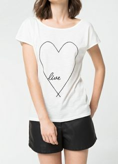 Camiseta corazón bordado