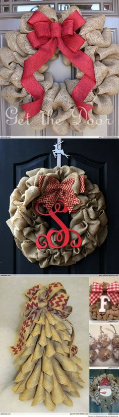 Burlap Christmas wreath. Love the bottom one shaped like tree.