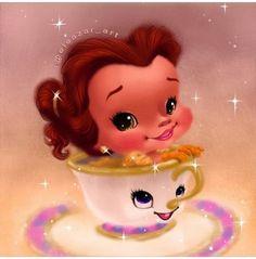 Cutesified Disney characters are just my cup of tea. Film Disney, Arte Disney, Disney Fan Art, Disney Girls, Disney Love, Disney Magic, Disney Belle, Disney Babies, Kawaii Disney