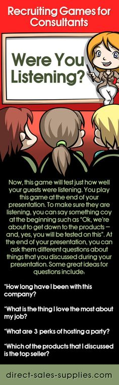 Were you listening? Fun party games for direct sales consultants.