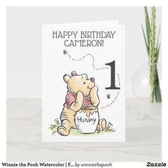 Winnie the Pooh Watercolor | First Birthday Card Cute Winnie The Pooh, Winnie The Pooh Birthday, Bear Birthday, Birthday Fun, Birthday Ideas, First Birthday Cards, First Birthdays, Zazzle Invitations, Birthday Invitations