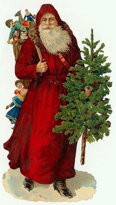 Victorian Christmas Clip Art - Old World Santa | Victorian ...