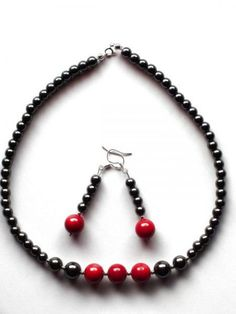 Items similar to Elegant Gift, Beaded Necklace Earrings Set, Red Coral, Hematite, Sterling Silver Findings on Etsy Red Coral, Earring Set, Wedding Jewelry, Beaded Necklace, Crafty, Sterling Silver, Unique Jewelry, Handmade Gifts, Etsy